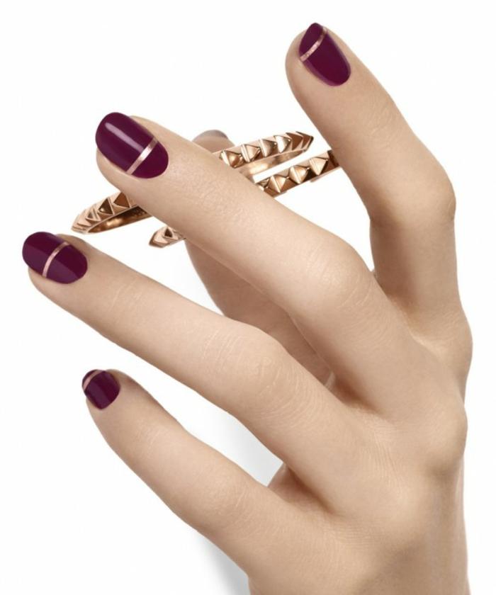 nageldesigns fingernägel design nailart weinroter nagellack gelnägel silber streifen