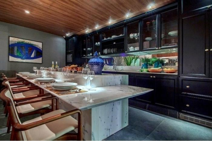 offene Küche Ideen Küchenbilder Beleuchtung Bar Atmosphäre