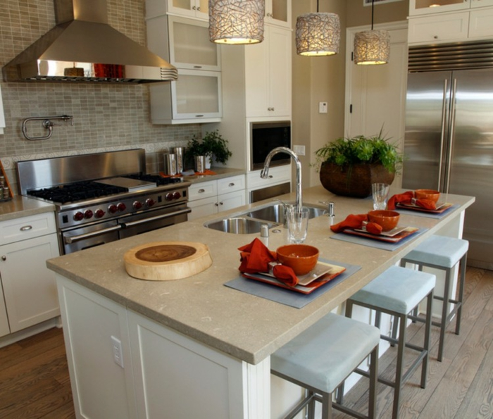 offene Küche Ideen Küchenbilder Kücheninsel als Esstisch