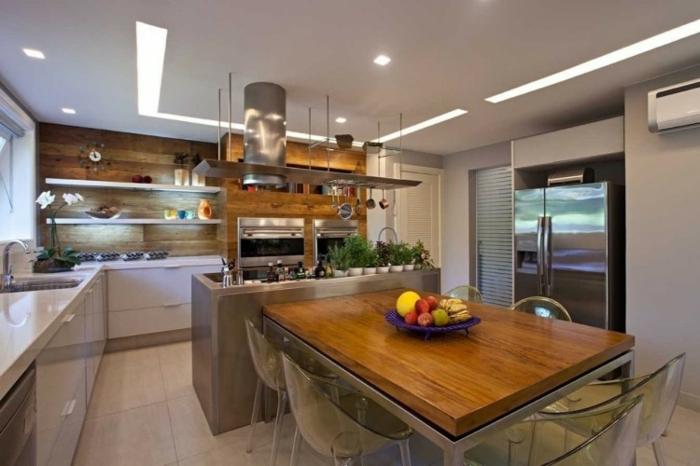 offene Küche Ideen Küchenbilder Kücheninsel mit Esstisch Deckenleuchten