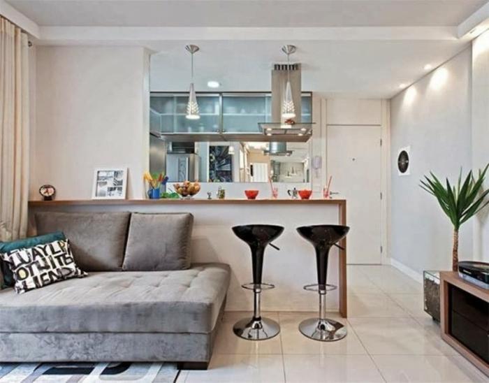 offene Küche Ideen Küchenbilder Kücheninsel und Sofa