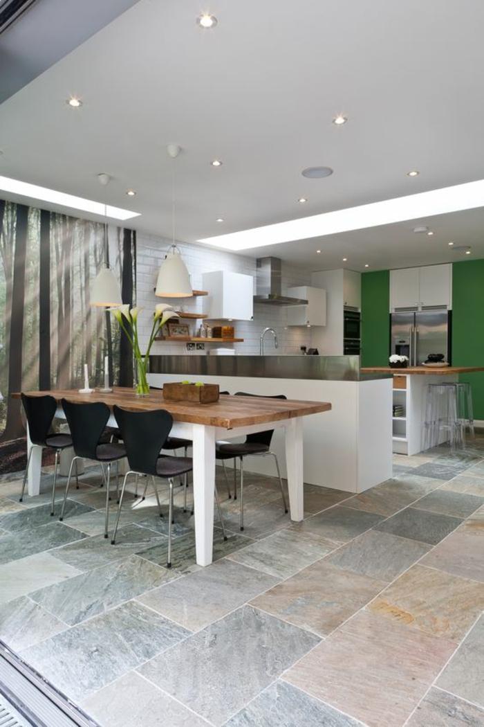 offene Küchen Küchengestaltung Ideen Küchenbilder Wandfarbe Grün