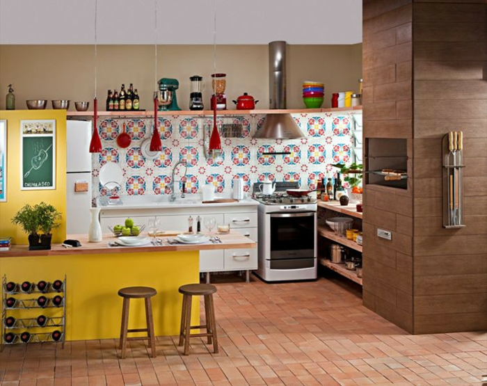 offene Küchen Küchengestaltung Ideen Küchenbilder bunte Küchenfliesen