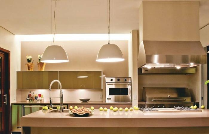 offene Küchen Küchengestaltung Ideen Kücheninsel Pendelleuchten