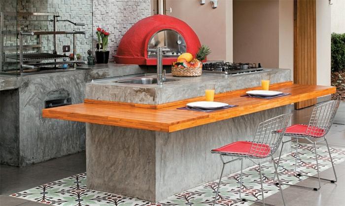 offene Küchen Küchengestaltung Ideen Kücheninsel mit Holzplatte