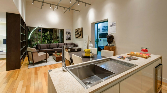 offene Küchen Küchengestaltung Ideen Wohnung mit offenem Grundriss
