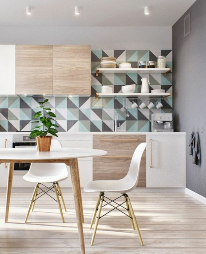 offene Küchen Küchengestaltung geometrisches Muster Küchenrückwand