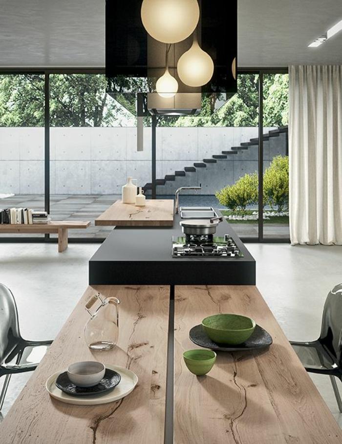 offene Küchen Küchengestaltung inspirierende Küchenideen Esstisch Massivholz