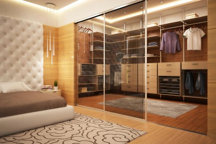 Schlafzimmer Schrank Ohne Turen #21: Offener Kleiderschrank Gläserne Schiebetüren Schlafzimmer Pendelleuchten