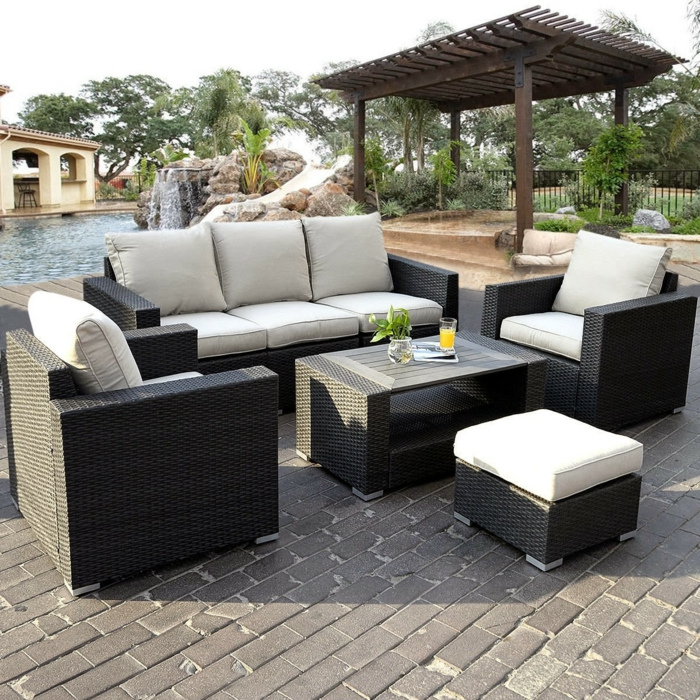 rattanmobel garten grau modell. Black Bedroom Furniture Sets. Home Design Ideas