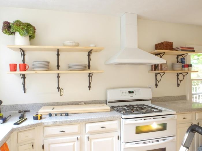regal selber bauen wandregale küche offen