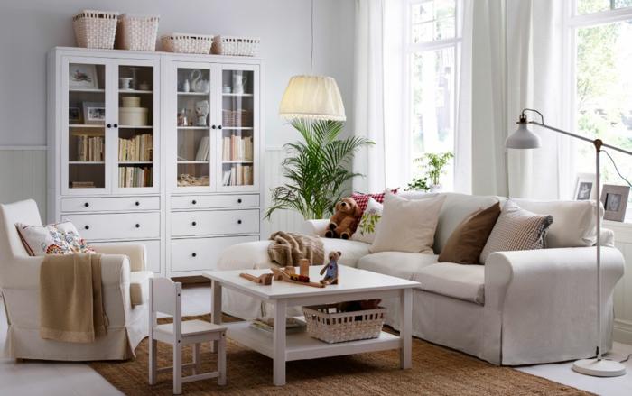 schöne wohnideen beige wohnzimmermöbel sisalteppich weißer bodenbelag