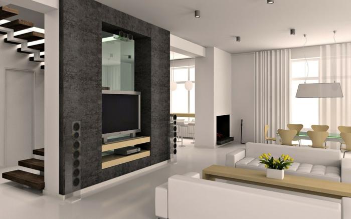 schöne wohnideen esszimmer hölzerne stühle wohnzimmer weißer boden