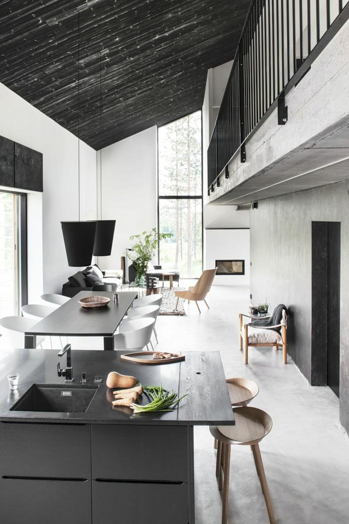 schöne wohnideen weiß schwarz kücheninsel esszimmer