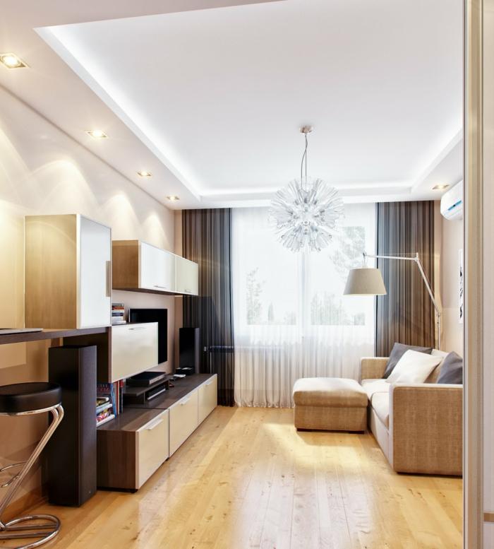 schöne wohnideen wohnzimmer beige möbel holzmöbel wohnwand