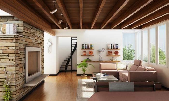 schöne wohnideen wohnzimmer beige möbel innentreppen steinwand