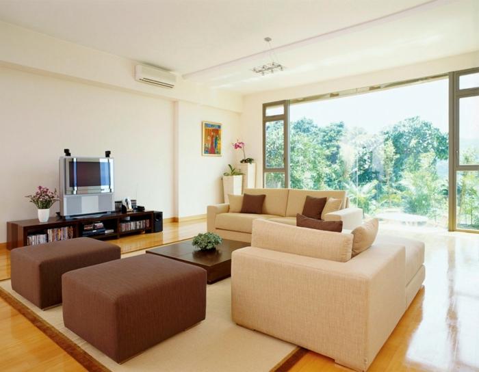 schöne wohnideen wohnzimmer gemütlich teppich geräumig