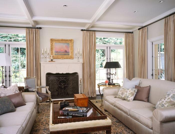 schöne wohnideen wohnzimmer luxuriös kamin kaminzims lange gardinen