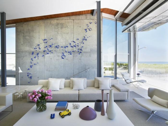 schöne wohnideen wohnzimmer wanddeko schmetterlinge blumendeko