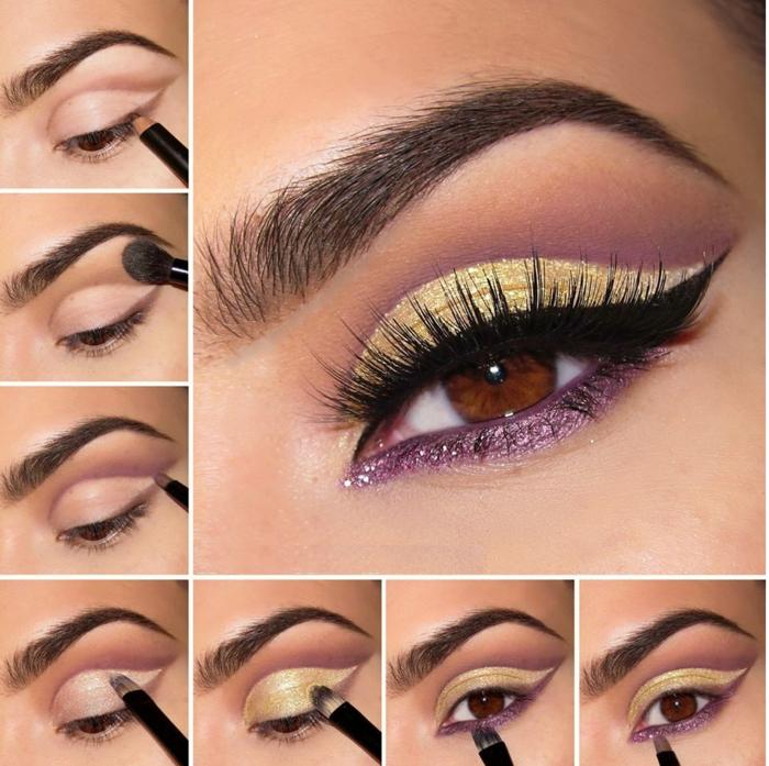 schminktipps für braune augen farbpalette nah gold lila
