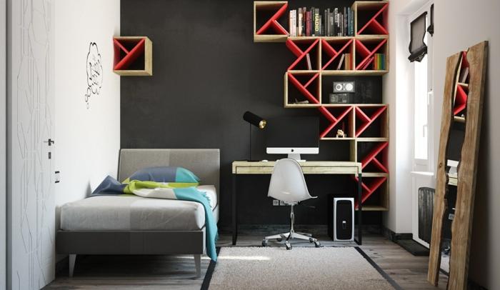 raumgestaltung mit farbe rote akzente setzen, wandfarbe schwarz: 59 beispiele für gelungene innendesigns - fresh, Design ideen