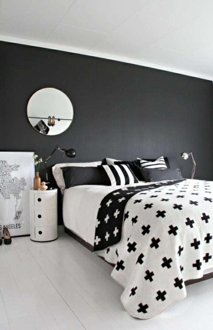 schwarze wandfarbe schlafzimmer einrichten schwarze akzentwand weißer boden