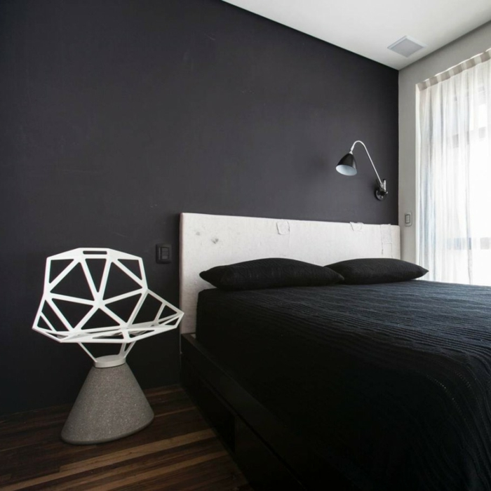 Schlafzimmer Farben Gestalten Decorations In Spanish Wand: Wandfarbe Schwarz: 59 Beispiele Für Gelungene Innendesigns
