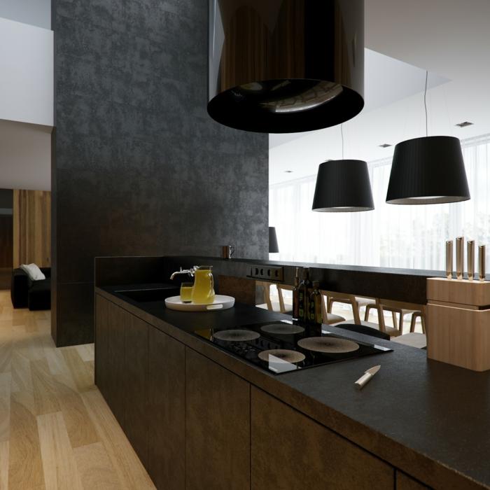 schwarze wandfarbe schwarze akzentwand kücheninsel heller boden