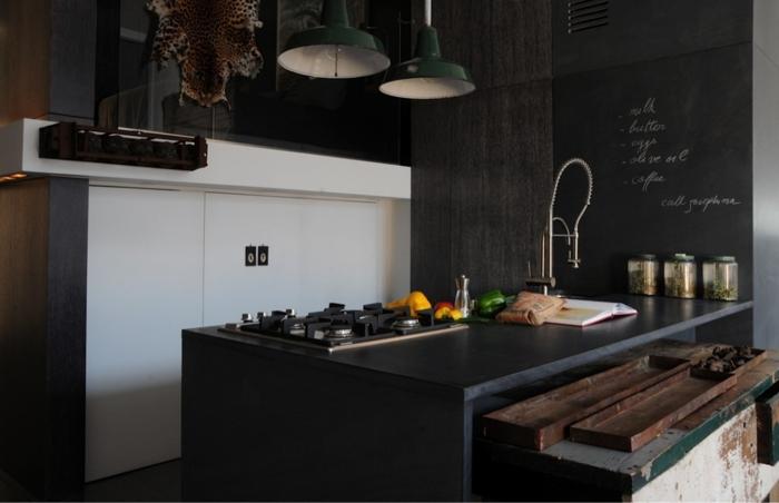 schwarze wandfarbe wandtafel küche schwarze kücheninsel