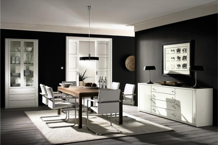 schwarze wandfarbe weiße möbel esszimmer einrichten holztisch heller teppich