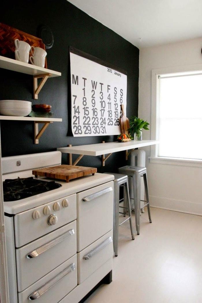 schwarze wandfarbe wohnideen küche pflanzen frühstücksecke