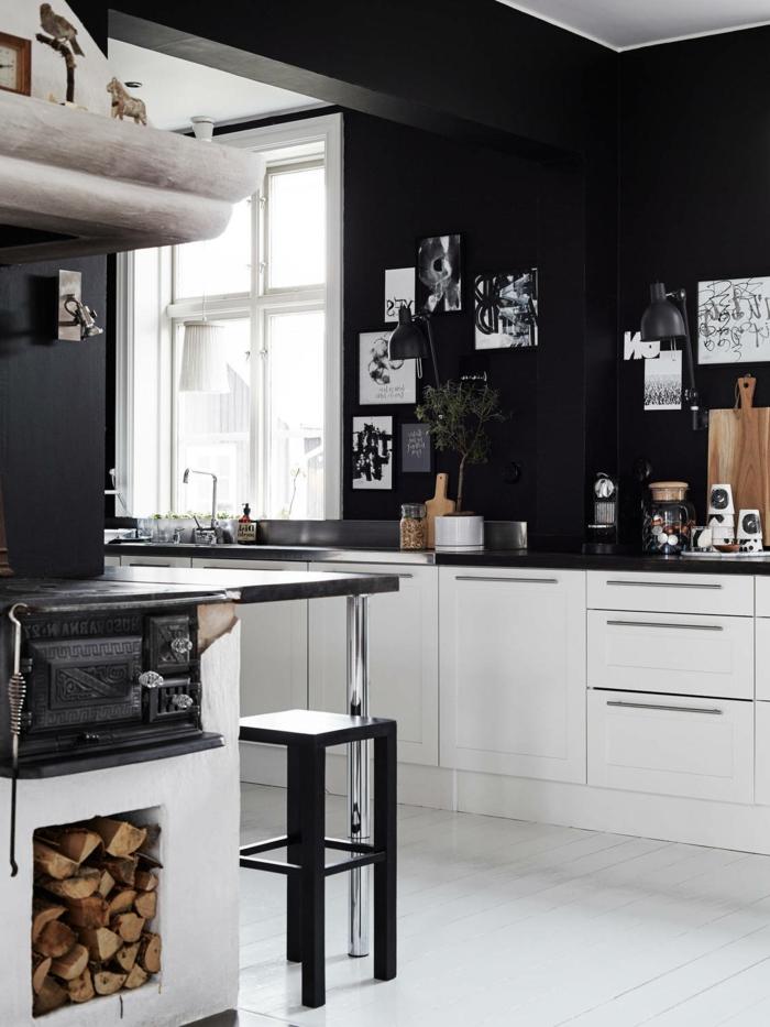 schwarze wandfarbe wohnideen küche weiße küchenschränke heller boden