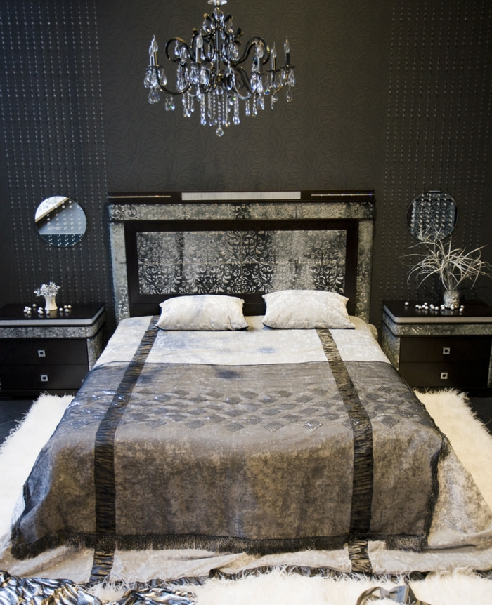 schwarze wandfarbe wohnideen schlafzimmer luxuriöse bettwäsche