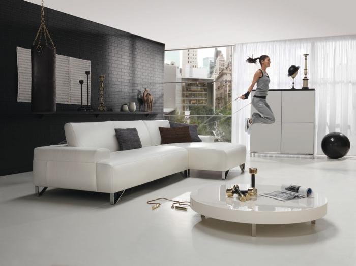 schwarze wandfarbe wohnzimmer akzentwand ziegelwand schwarz weißer boden