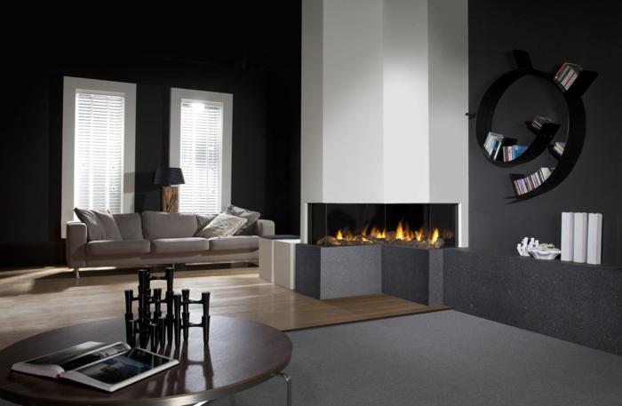 Schwarze Wandfarbe Wohnzimmer Einrichten Ideen Eckkamin Holzboden