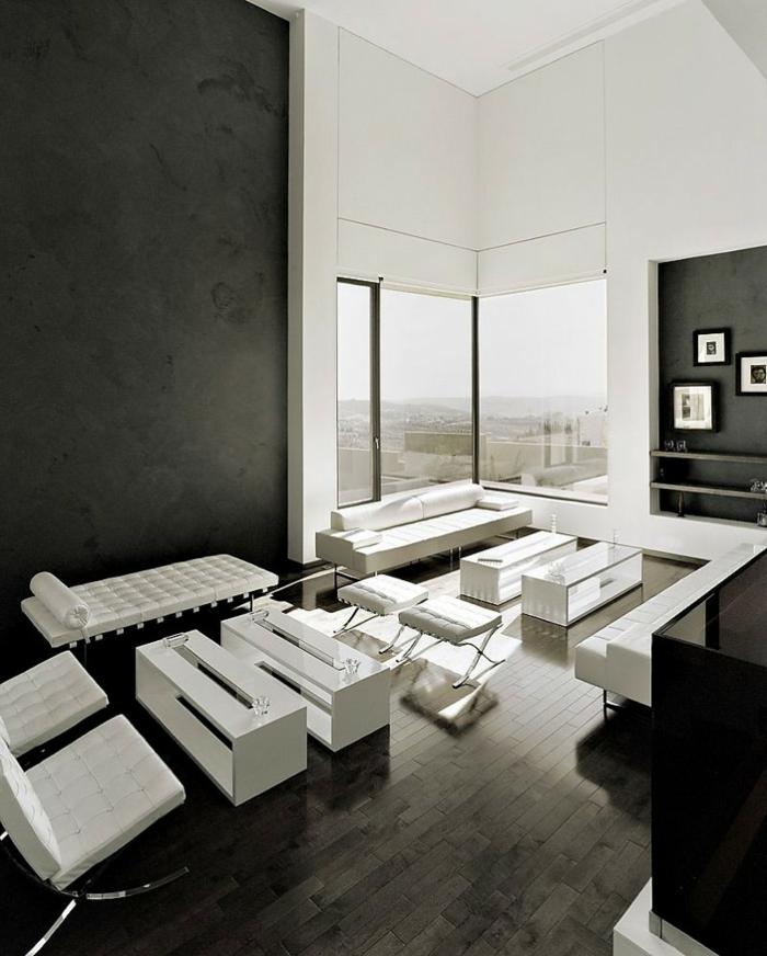 schwarze wandfarbe wohnzimmer einrichten weiße möbel fenster