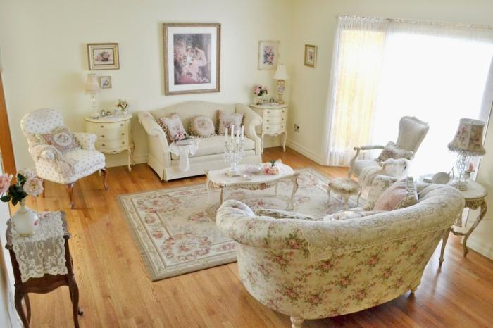shabby chic möbel anrichte antikes design barockstil wohnzimmer rosen blumenmuster textilien