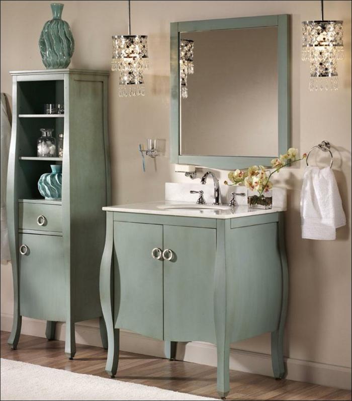 shabby chic kommode anrichte badezimmermöbel pastelgrün waschtisch retro armatur chrom