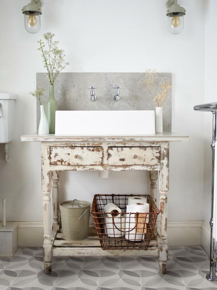 shabby chic möbel anrichte schublade waschtisch badezimmermöbel selber machen