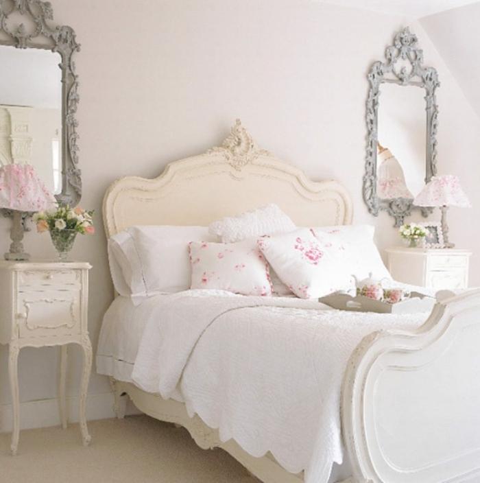 shabby chic kommode weiß nachtkonsole barockstil romantisches zimmer