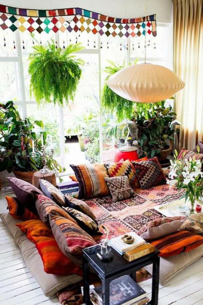 shabby chic möbel boho style dekokissen ethno muster lounge ecke hängeleuchte