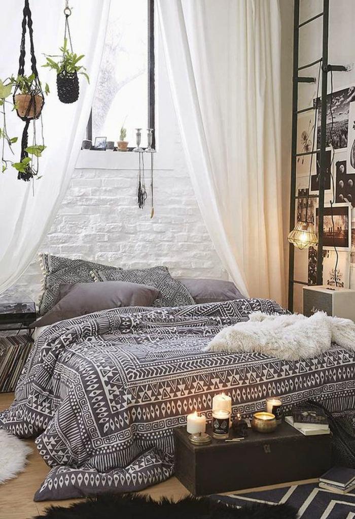 shabby chic möbel boho style schlafzimmer einrichtung bett tagesdecke ethno schwarz weiß