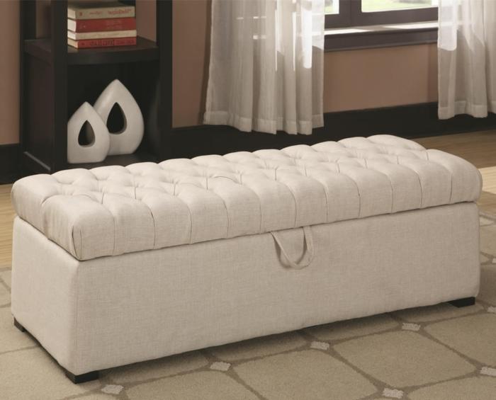 sitzhocker mit stauraum weiß stilvoll wohnideen