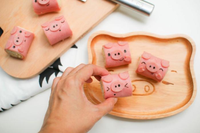 snack ideen kleine brötchen schweinchen food art
