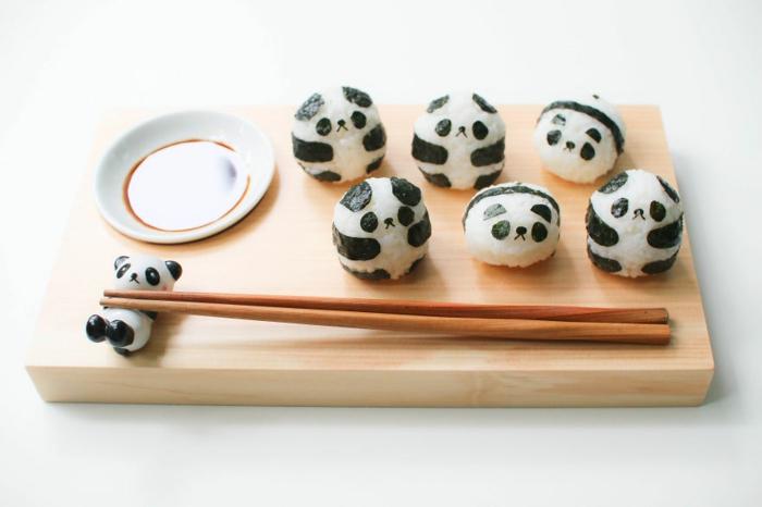 snack ideen panda sushi japanische food art