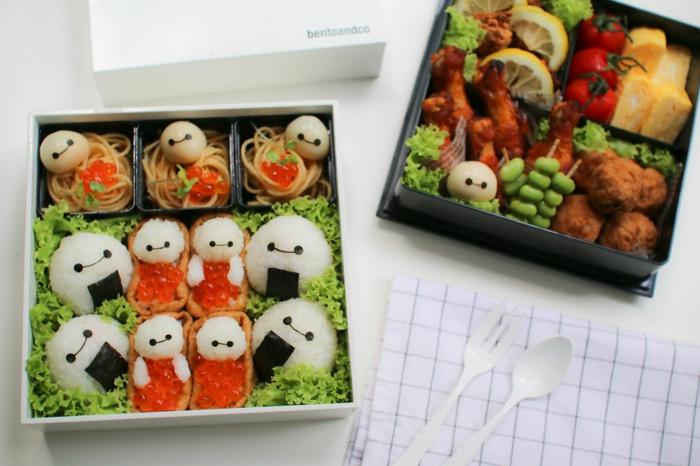 snack ideen reis kaviar grüner salat spaghetti baymax picknick bento