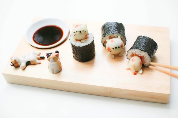 snack ideen sushi rezept japanische food art katzen