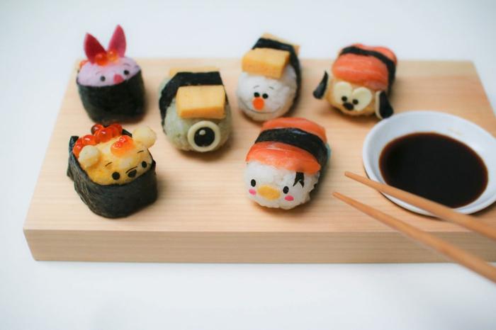 snack ideen sushi rezepte tsum tsum disney zeichentrickfilm charaktere