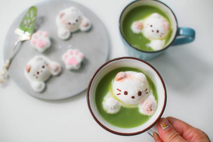 snack ideen weiße katzen marshmallows mäusespeck matcha tee