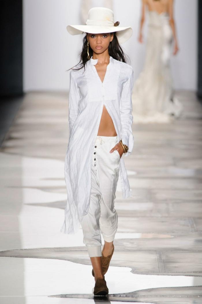 sommermode frauenmode damen greg lauren 2016 elegantes outfit weiß hose oberteil sommerhut
